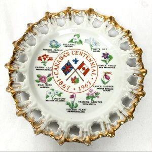 3/$25 Vintage decorative plate Canada centennial
